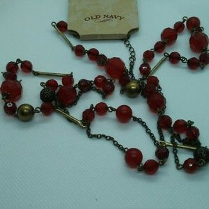 Long Old Navy Red and Antique Gold Necklace NWT